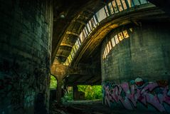 The ruins of the factory. The ruins of the old cement plant Royalty Free Stock Images
