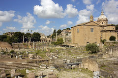 Ruins of famous ancient Roman Forum, Rome, Italy Royalty Free Stock Images