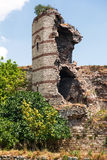 The ruins of famous ancient walls of Constantinopl Stock Photos
