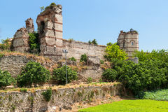 The ruins of famous ancient walls of Constantinople in Istanbul Royalty Free Stock Photo