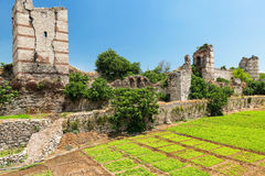The ruins of famous ancient walls of Constantinople in Istanbul. Turkey stock image