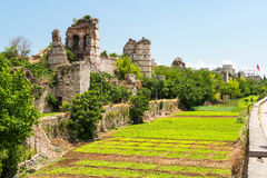 The ruins of famous ancient walls of Constantinople in Istanbul Stock Images