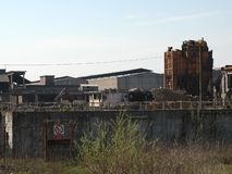 Ruins of Ferrero steelworks in Settimo Torinese royalty free stock photos