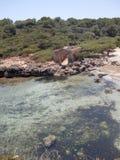 The ruins of a fisherman`s house Mallorca stock photos