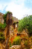 Ruins and flowers in Bagnoregio Royalty Free Stock Photography