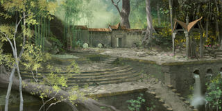 Ruins in Forest. A digital painting of an ancient stone courtyard amid a lush forest environment royalty free illustration