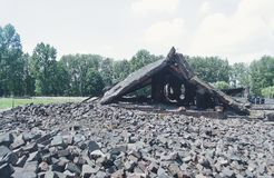 Gas chamber ruins, Auschwitz-Birkenau, concentration camp. Poland. Ruins of a former gas chamber destroyed by the nazis in their attempt to cover up the royalty free stock images
