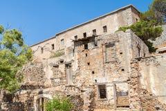 Ruins of the former leper colony on Spinalonga Island. Ruins of the former leper colony. Island of Spinalonga Kalydon, Crete, Greece Stock Photos