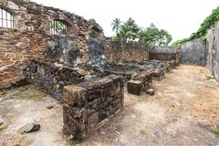 Abandoned Prison in Salvation& x27;s Islands, French Guiana. Ruins of former penal colony at Ile Royale, one of the islands of Iles du Salut & x28;Islands of Royalty Free Stock Photo