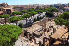 Ruins of Foro di Cesare in Rome Royalty Free Stock Photography