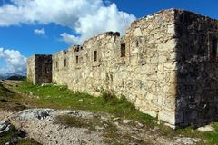 Ruins of a fort from the First World War, Dolomites, Italy royalty free stock image