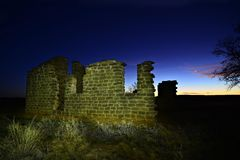 Ruins at Fort Griffin State Park Texas. A crumbling building at Fort Griffin State Park in Texas. Taken near sunset, with several stars visible. Taken with the stock image