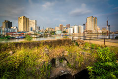 Ruins at Fort Santiago and buildings along the Pasay River, in I Stock Image