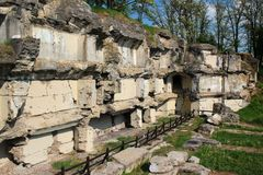 Ruins of Fort XIII San Rideau in Przemysl, Poland. Przemysl, Poland - May 5, 2018: Ruins of Fort XIII San Rideau, part of fortifications around Przemysl Royalty Free Stock Image