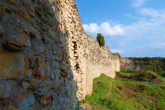 Ruins of fortification bulwark. Medieval rampart Royalty Free Stock Photos