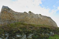 Ruins of fortification bulwark. Medieval rampart Royalty Free Stock Photo