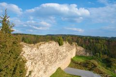 Ruins of fortification bulwark. Medieval rampart Royalty Free Stock Photography