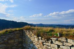 Ruins of fortification bulwark. Medieval rampart.  Royalty Free Stock Photography