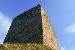 Ruins of fortification bulwark. Medieval rampart Stock Photos
