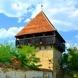 Ruins. Fortified medieval saxon evangelic church in the village Cobor, Transylvania, Romania. The settlement was founded by the Saxon colonists in the middle of Stock Photo