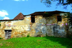 Ruins. Fortified medieval saxon evangelic church in the village Cobor, Transylvania, Romania. Stock Image