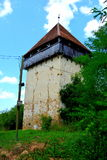 Ruins. Fortified medieval saxon evangelic church in the village Cobor, Transylvania, Romania. Stock Photo