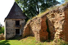 Ruins. Fortified medieval saxon evangelic church in the village Felmer, Felmern, Transylvania, Romania. The settlement was founded by the Saxon colonists in the Royalty Free Stock Photo
