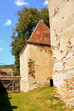 Ruins. Fortified medieval saxon evangelic church in the village Felmer, Felmern, Transylvania, Romania. The settlement was founded by the Saxon colonists in the Stock Photo