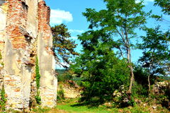 Ruins. Fortified medieval saxon evangelic church in the village Felmer, Felmern, Transylvania, Romania. The settlement was founded by the Saxon colonists in the Royalty Free Stock Photography