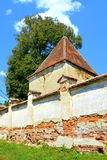 Ruins. Fortified medieval saxon evangelic church in the village Felmer, Felmern, Transylvania, Romania. The settlement was founded by the Saxon colonists in the Royalty Free Stock Images