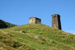 Ruins of fortified tower at medieval svan village , settlement Ushguli,Svaneti, Georgia Royalty Free Stock Images