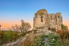 Ruins of fortress Čačvina. Near town of Trilj in Dalmatian Zagora. Fortress i placed on the hill overlooking the town and near villages. The fortress is build Stock Images