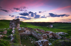 Ruins of fortress. In Khotyn, Ukraine Royalty Free Stock Photo