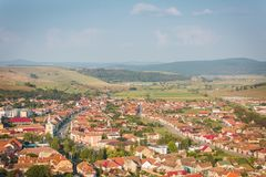 The ruins of a fortress on a beautiful spring day. The ruins of a fortress, the fortress of Rupea in Transylvania on a beautiful spring day. Panoramic view from Stock Image