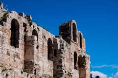 Ruins of fortress in greece royalty free stock photos