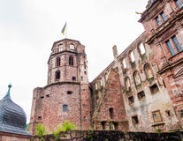 Ruins of Fortress in Heidelberg Castle at Heidelberg Germany under gloomy sky. Stock Photography