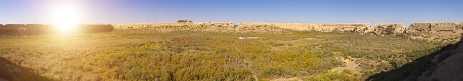 Ruins of fortress Koi Krylgan Kala`Fortress of the died sheep` the 4-3rd century BC - ancient Khorezm, in the Kyzylkum desert Royalty Free Stock Image