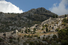 Ruins of the fortress located in the city of Kotor, Montenegro Stock Photo