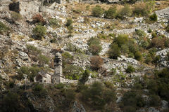 Ruins of the fortress located in the city of Kotor, Montenegro Stock Images