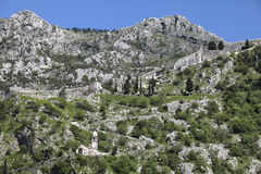 Ruins of the fortress over Kotor Stock Images