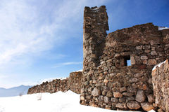Ruins of the fortress in the snow Stock Images