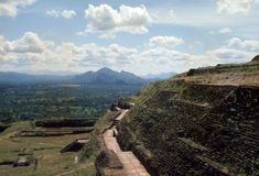 1977. Sri Lanka. Ruins of the Sigiriya fortress. The ruins of the fortress at the top of the Sigiriya rock Stock Images