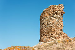 Ruins in fortress at Tossa de Mar Stock Photo