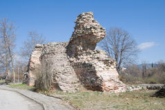 Ruins of the fortress wall in Hissar, Bulgaria. 4th century royalty free stock photography