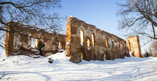 Ruins of the fortress (winter) Royalty Free Stock Images
