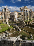 Ruins of the Forum. The remains in the Roman Forum show the splendor of the old temples Stock Image