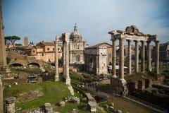 Forum Romanum. Ruins of Forum Romanum in Rome Stock Photos