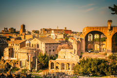 Ruins of Forum in Rome Stock Photo