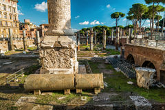 Ruins of the forum of Trajan in Rome Stock Image