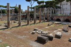 Ruins of forum of Trajan in Rome Stock Image